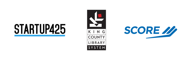 Logos for Startup 425, KCLS, and SCORE