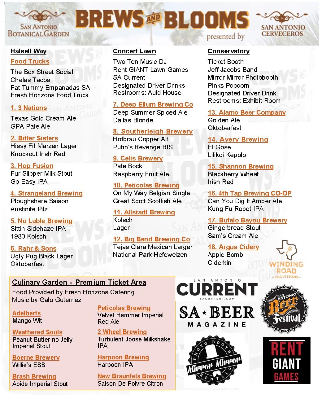 Brews and Blooms Tap List
