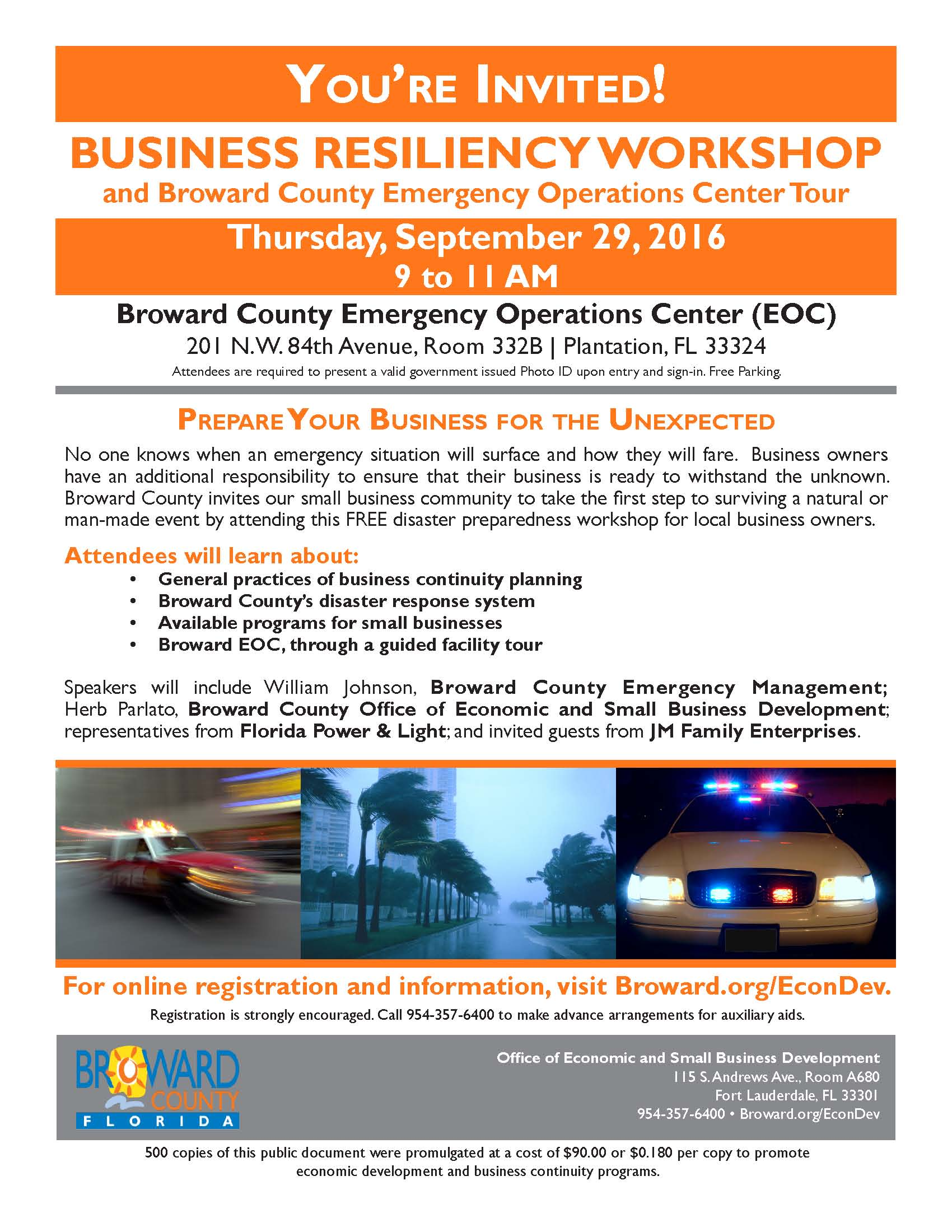 disaster planning workshop flyer