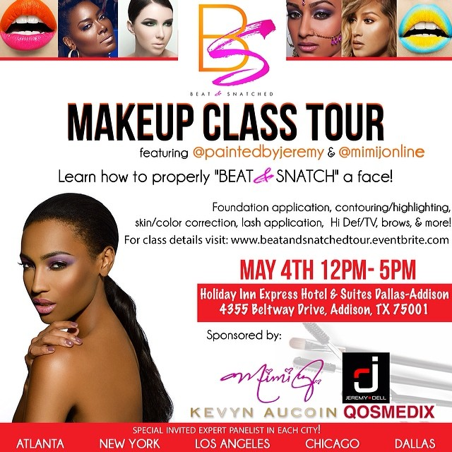 Beat and Snatched makeup class in dallas with MiMi J and Jeremy Dell