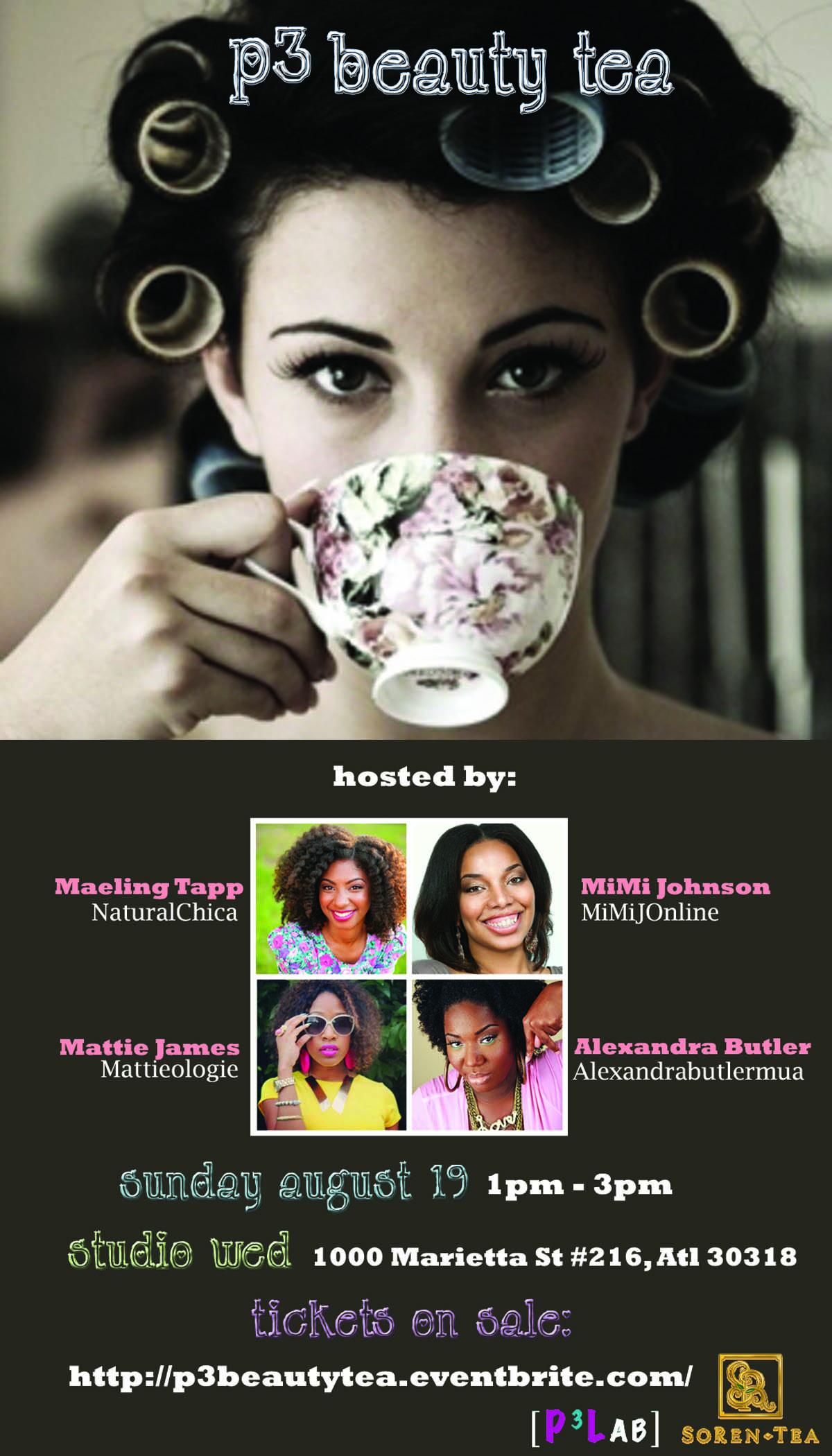 P3 Beauty Tea party invitation