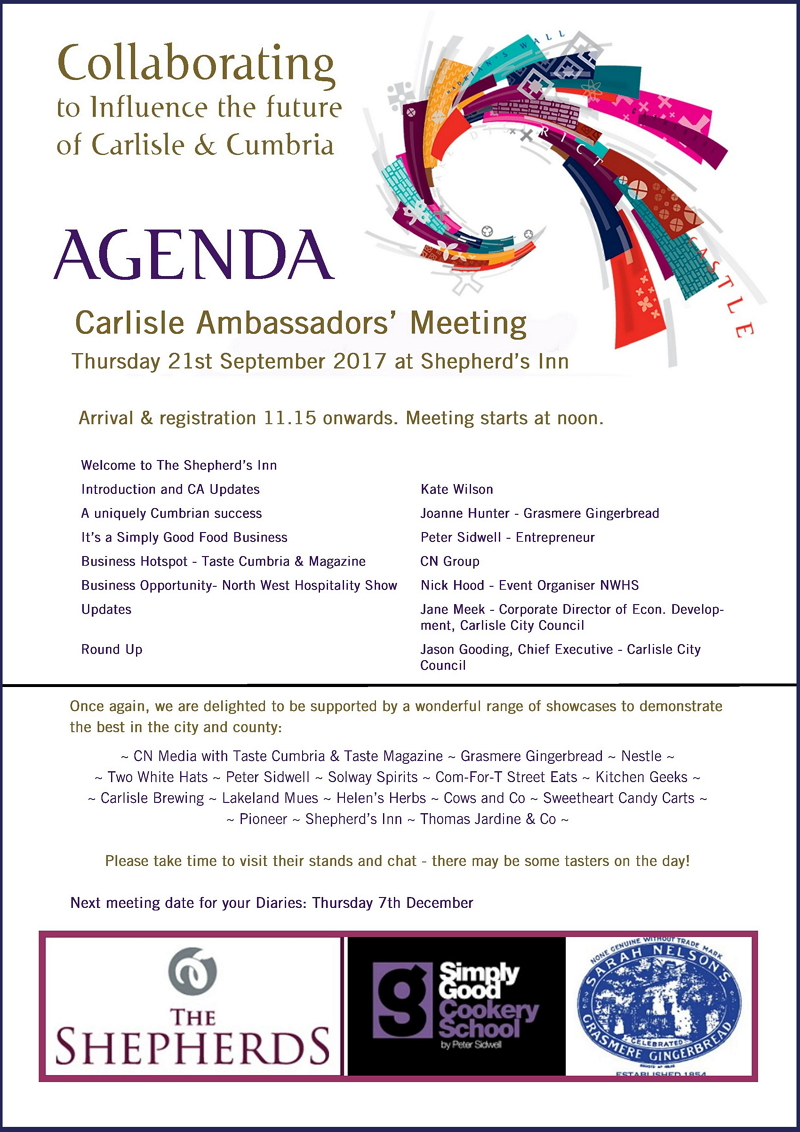 Carlisle Ambassadors Meeting Agenda September 2017