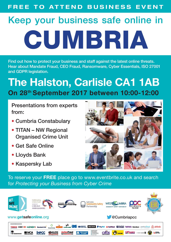 Carlisle Ambassadors PCC Cumbria Poster Cyber event