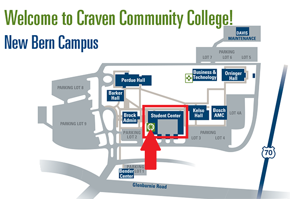 New Bern Campus Orientation Map to student center