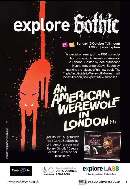 Explore Gothic advert for American Werewolf in London screening