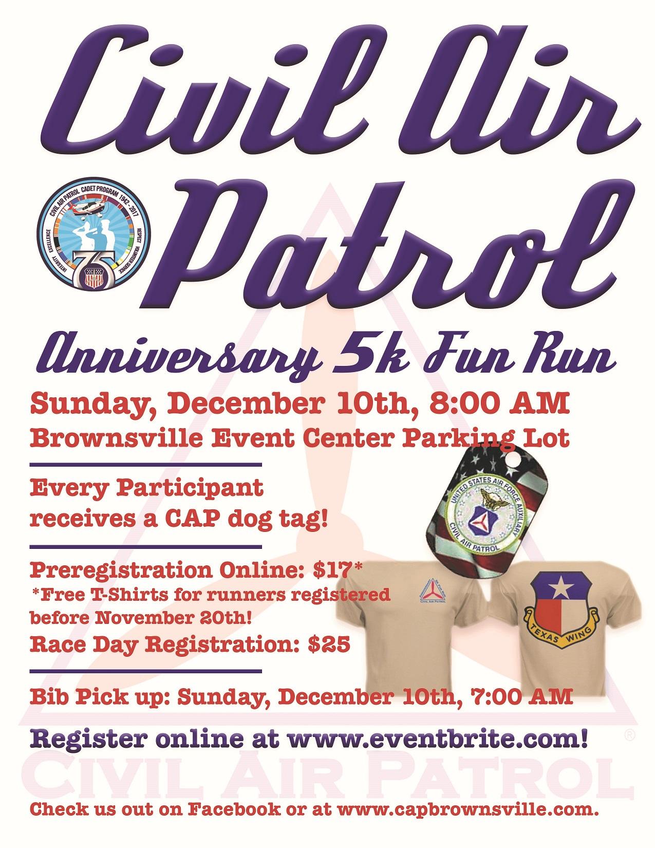 Civil Air Patrol 5k Fun Run - Dec 10th, 2017