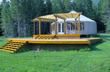 Yoga and Meditation classes take place in a community yurt and outside on the deck on sunny warm afternoons.