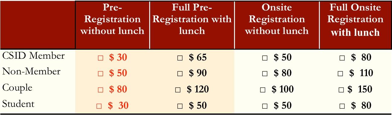 Registration fees 2016