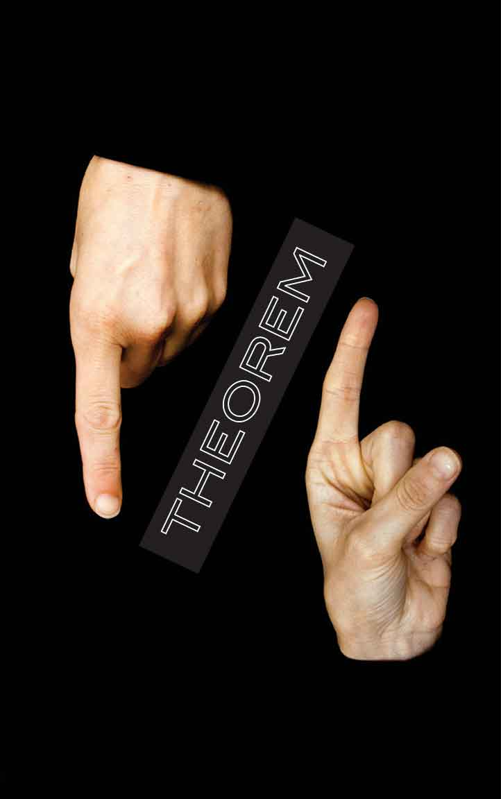 Poster graphic for THEOREM & theory:practice - two index fingers pointing in opposite directions on a deep black ground, with the exhibition title THEOREM placed on the diagonal between them.