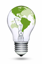 Image of light bulb with countries
