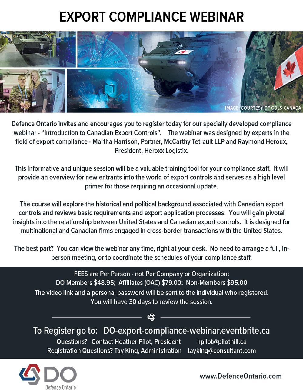Defence Ontario Export Compliance Webinar