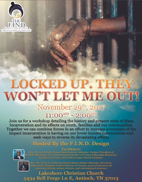 """I'm locked up, they won't let me out"" -Akon  For some, this is just a catchy song, but to others a harsh reality that has far-reaching and damaging effects on our families and youth.  Conducted by Rev. Drs. Lee A Earl and Dr. Tyree Anderson, two dynamic educators, social activists and preachers, this will be an opportunity to learn more about mass incarceration and the resulting poverty, addiction, mental illness, and unhealthy habits that plague our families and neighborhoods.   This will be an event you can't miss!!  Please go to https://www.eventbrite.com/e/locked-up-they-wont-let-me-out…for more information and to register!!  **Lunch will be provided**"
