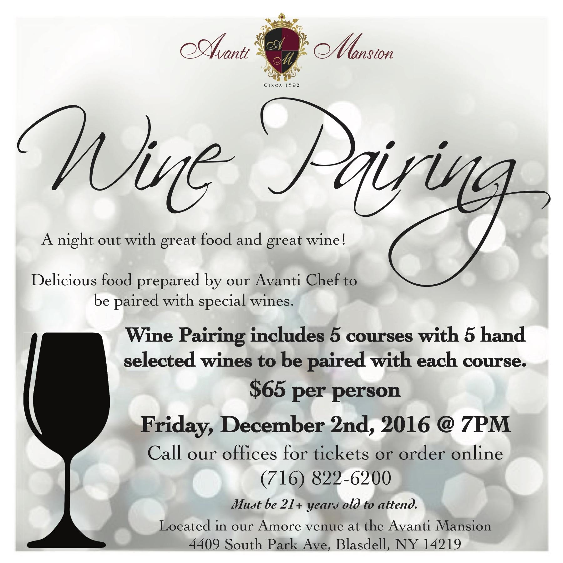 Avanti Mansion Wine Pairing Event