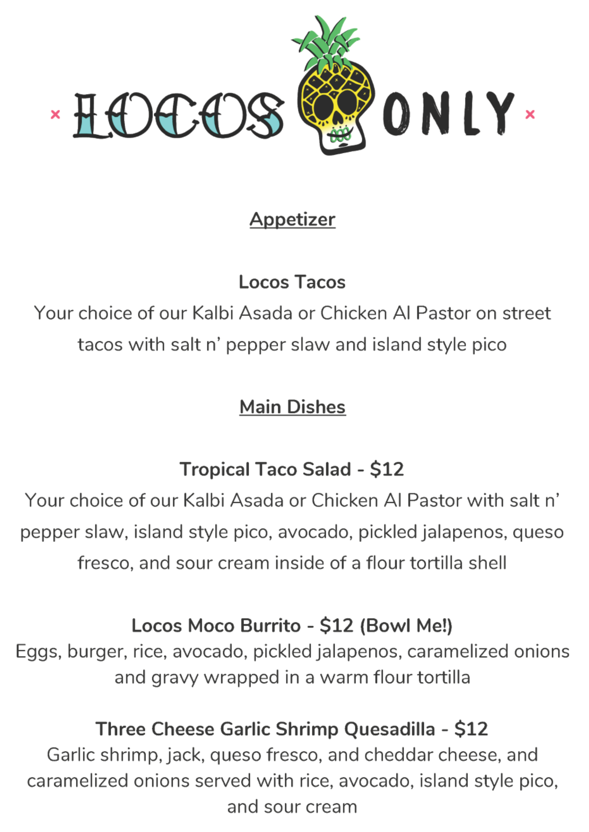 Locos Only Jazz It Up! 2018 Entree Menu
