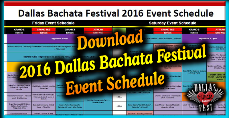 2016 Dallas Bachata Festival Workshops Schedule