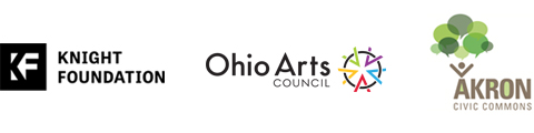 Logos for : John S. and James L. Knight Foundation, Ohio Arts Council, Akron Reimagining the Civic Commons