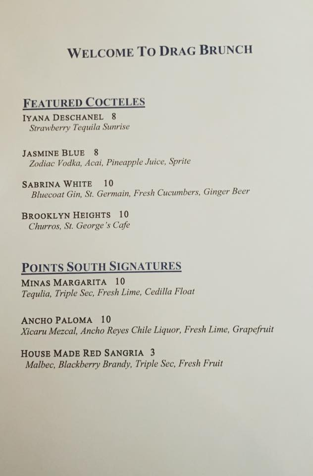 Drag Queen Cocktail Menu