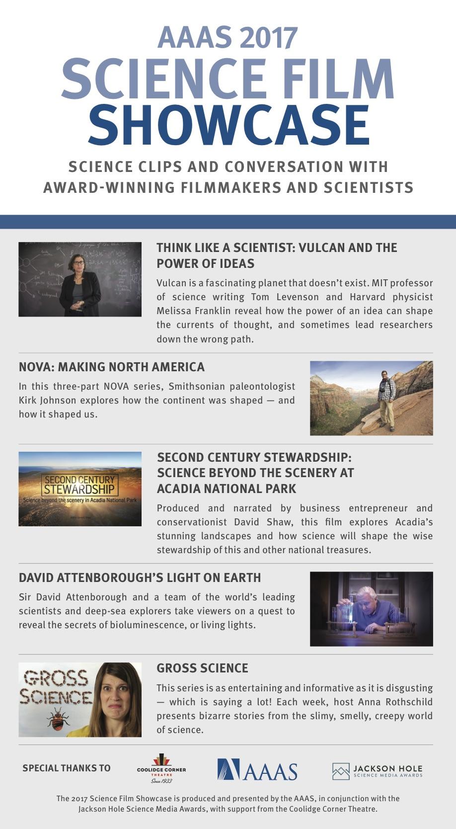 AAAS 2017 Science Film Showcase Flyer