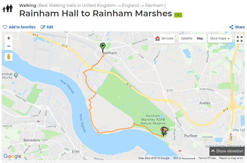 Rainham Hall walk route