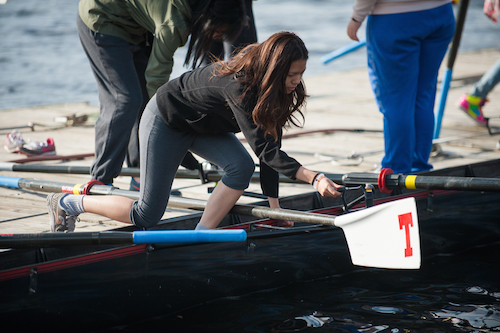 Achiever Janice secures her oar before going out for a row on Charles River!