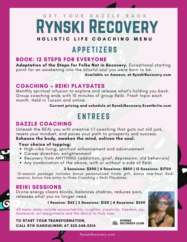 Rynski Holistic Coaching Services Menu
