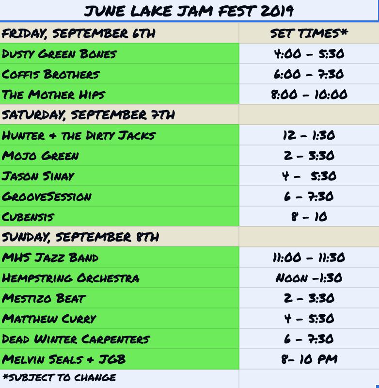 JLJF5 Performance Schedule