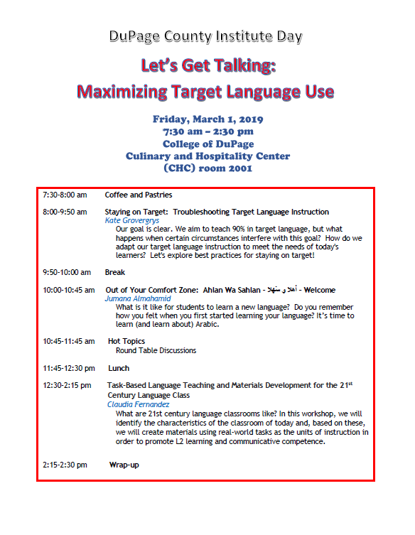 DuPage County Institute Day for Language Teachers