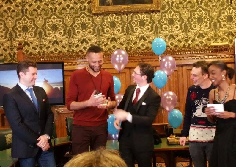 Accepting an award for Best Newcomer at the Houses Parliament