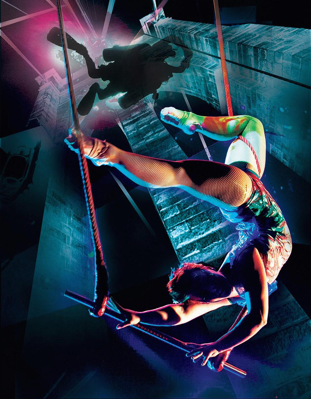 Trapeze Artist Swinging from Brooklyn Bridge