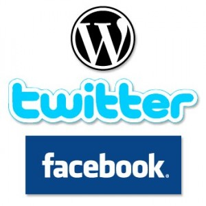 Wordpress, Twitter, Facebook