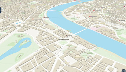 OS Open Zoomstack tilted map over London