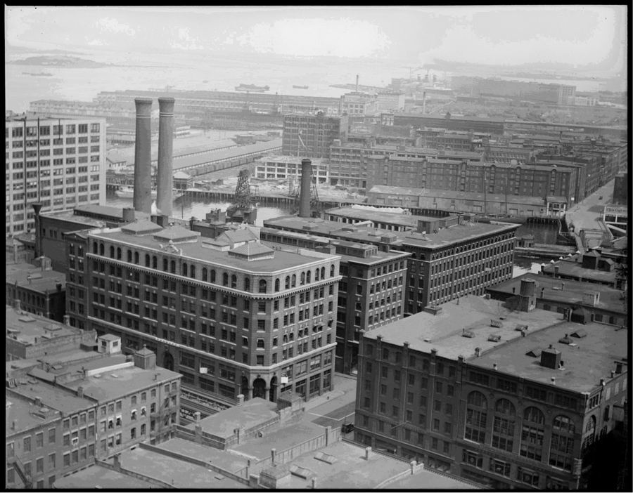 1929: Congress Street and Atlantic Avenue, looking towards Fan Pier and Fort Point.