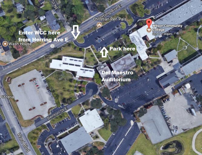 Map of campus parking and auditorium location