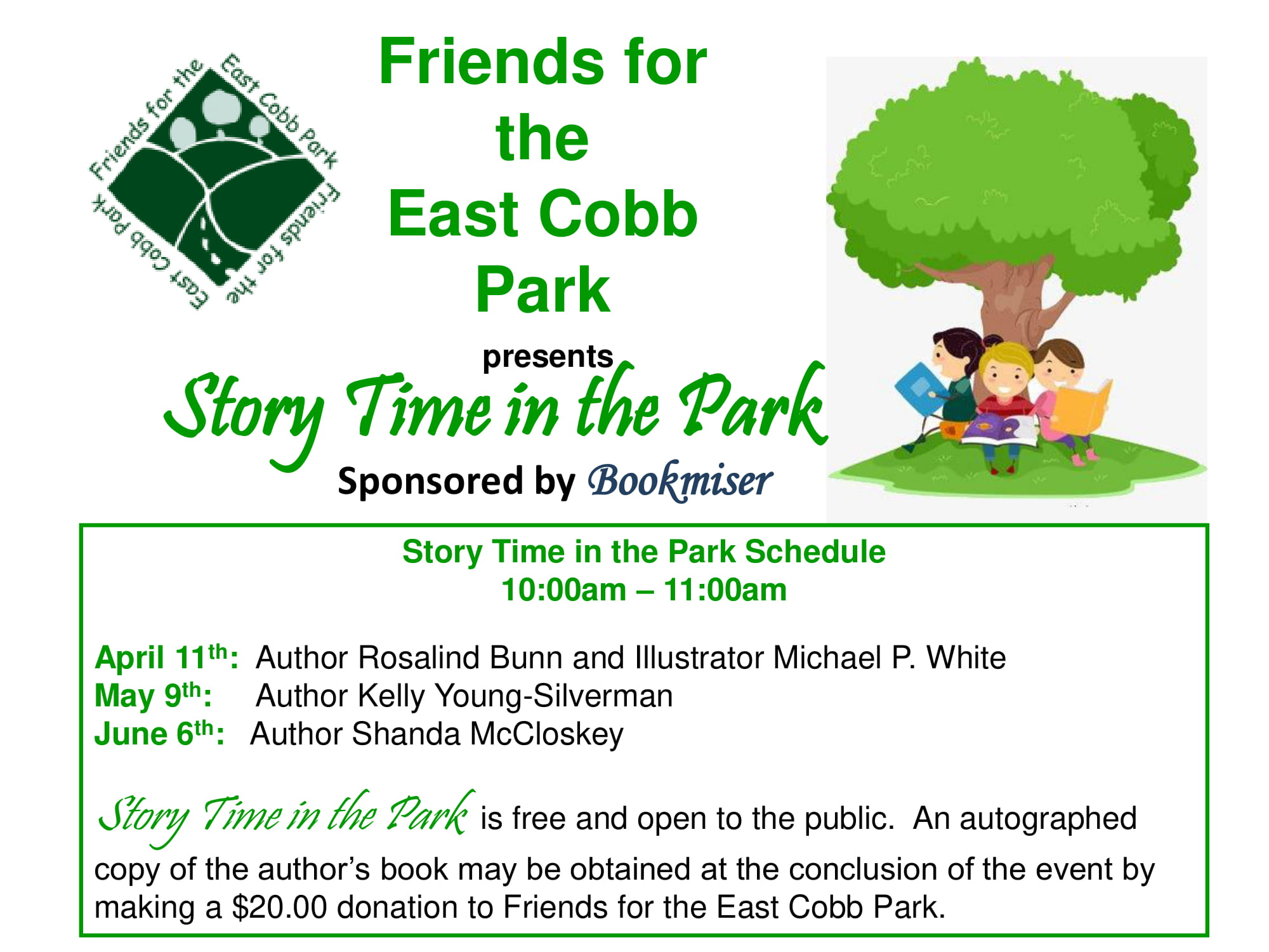 Story Time in the Park (East Cobb Park Sponsored by Bookmiser