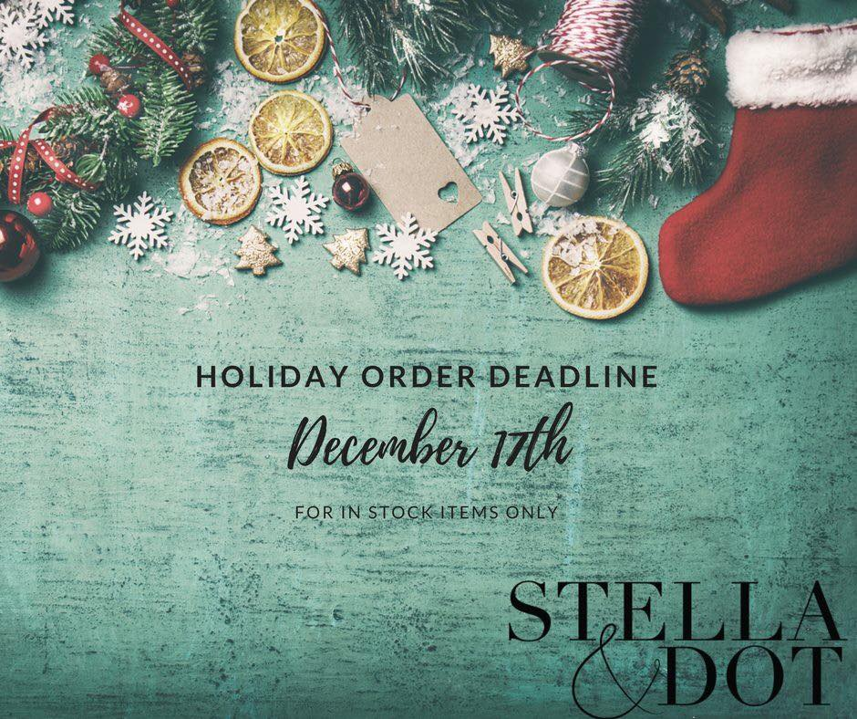 Holiday Shipping Deadline is December 17th