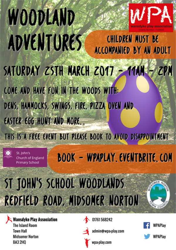 Woodland Adventures 25th March 11 - 2pm Poster