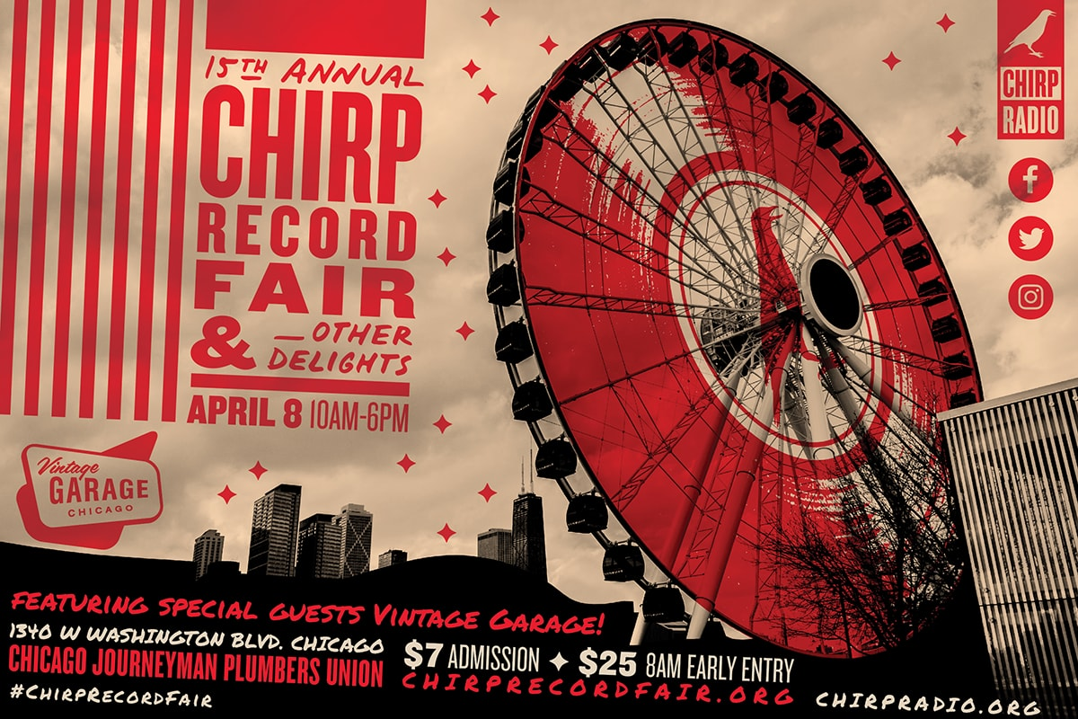 A red and black ferris wheel design on a tan background; The CHIRP Record Fair 2017 poster, with information on the fair.