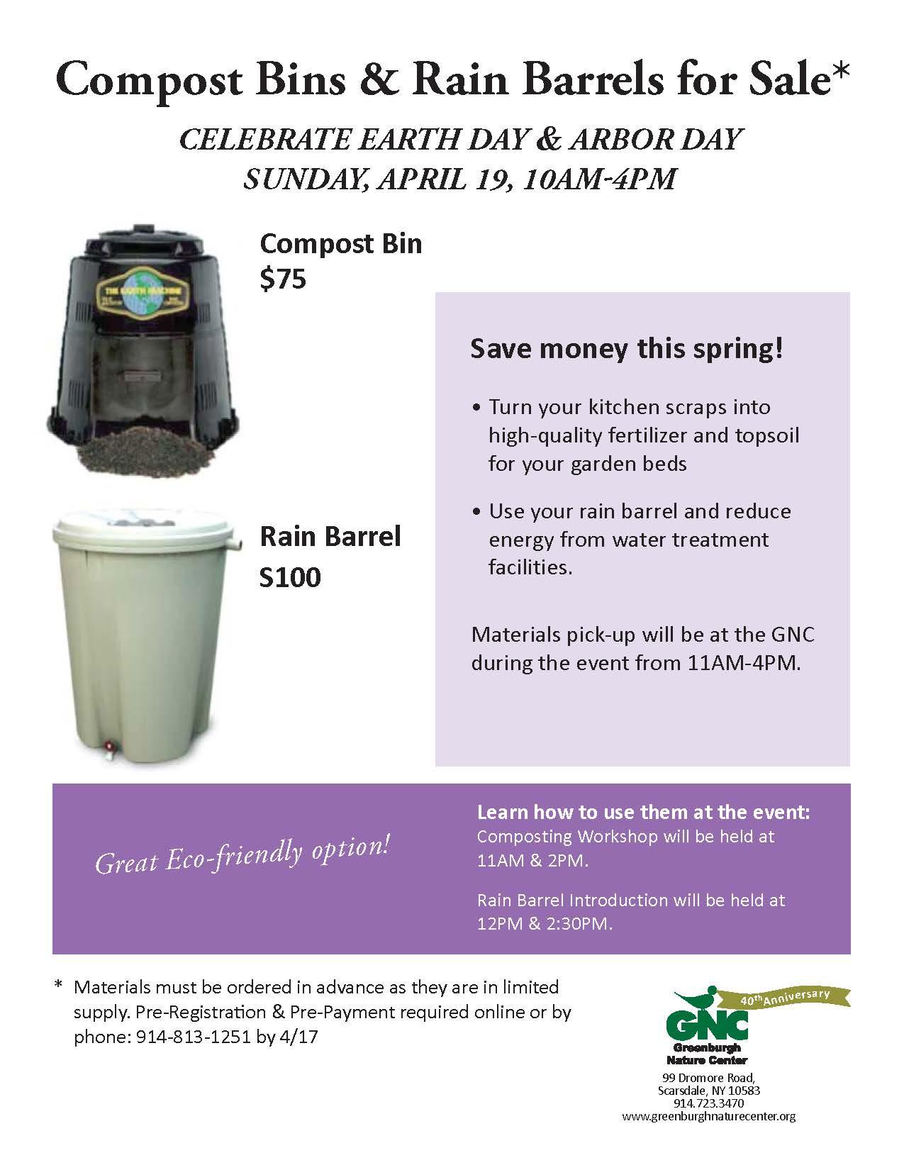 compost bin and rain barrel sale