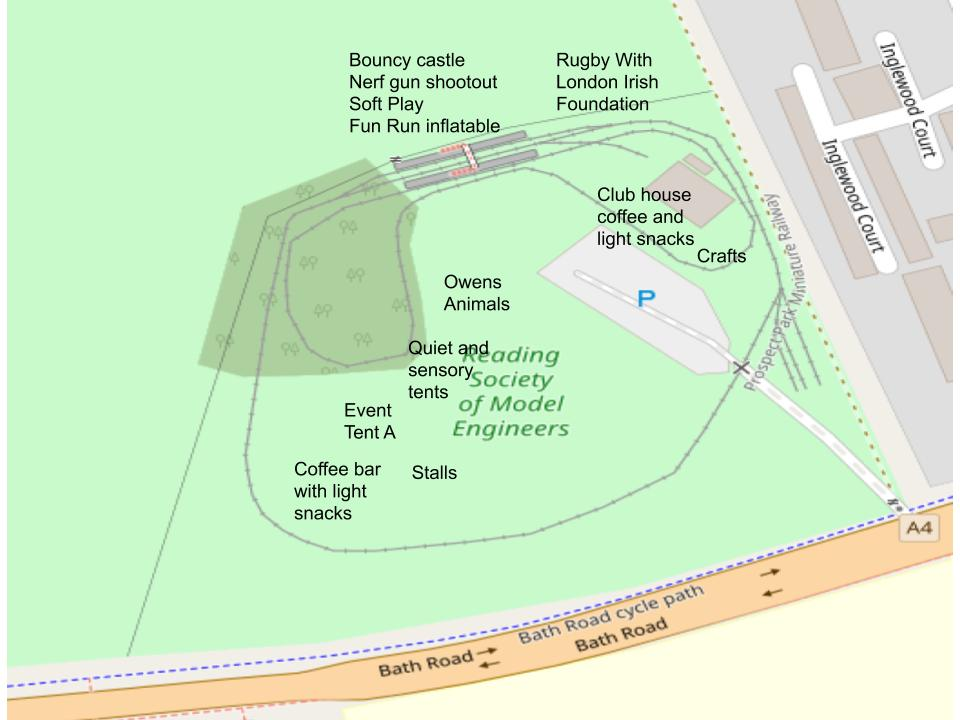 Map of site. Stalls, coffee van, owens animals, quiet, and sensory areas to the left of the car park as you enter the site. Railway to the right.