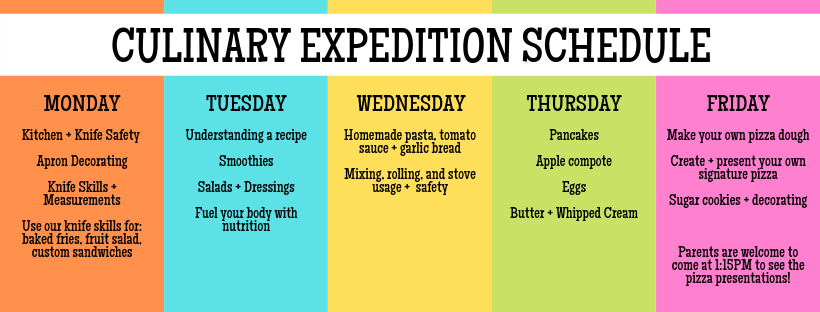 Kid's Culinary Expedition Schedule