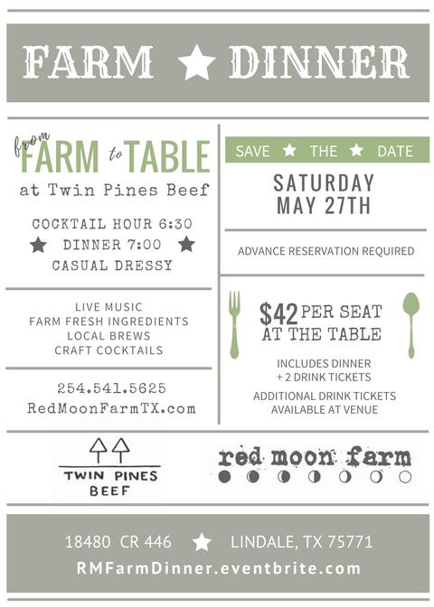 invitation to Farm Dinner, address, details, etc.