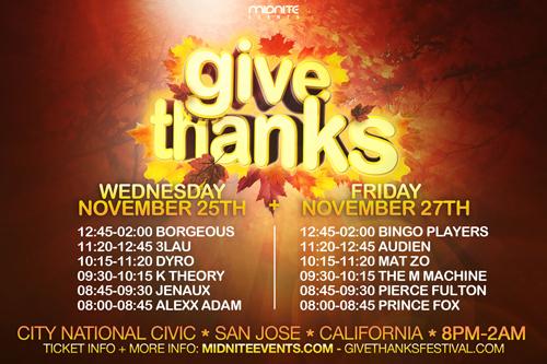 Give Thanks 2015 timelsots