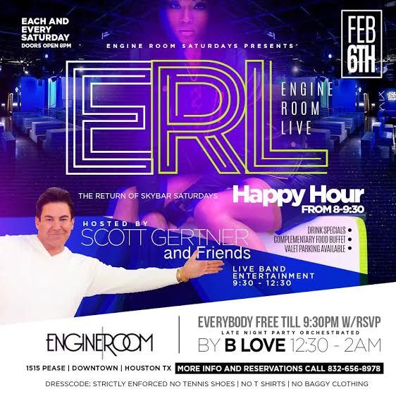 Live music is back in houston texas er live saturdays at engine room featuring scott gertner for Redwood room live music schedule