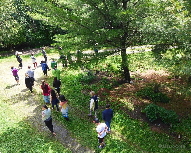 Tous les jours, nous pratiquons la marche méditative sur l'immense terrain du Village des Érables. Every day, we practice walking meditation on the huge ground of Maple Village