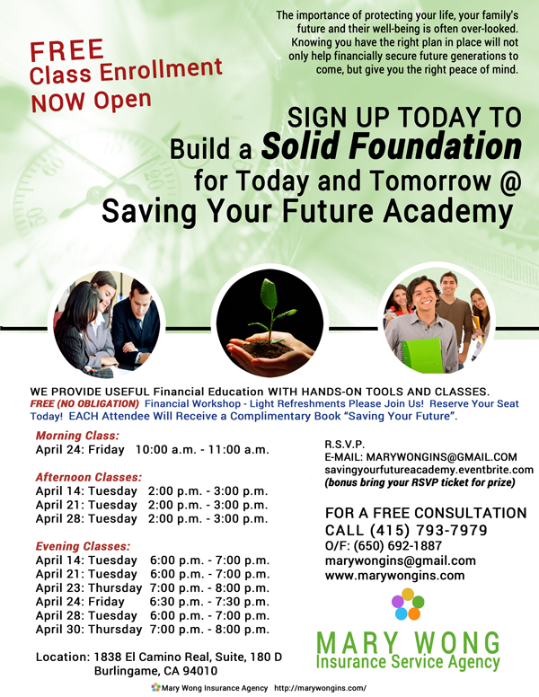 Saving Your Future Academy Classes Offered in April 2015