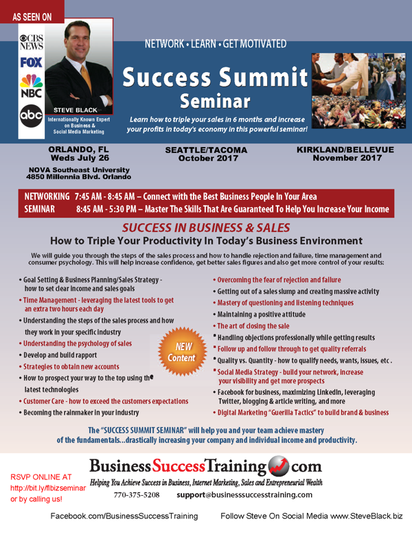 Success Summit Seminar Schedule - 770-375-5208 to order