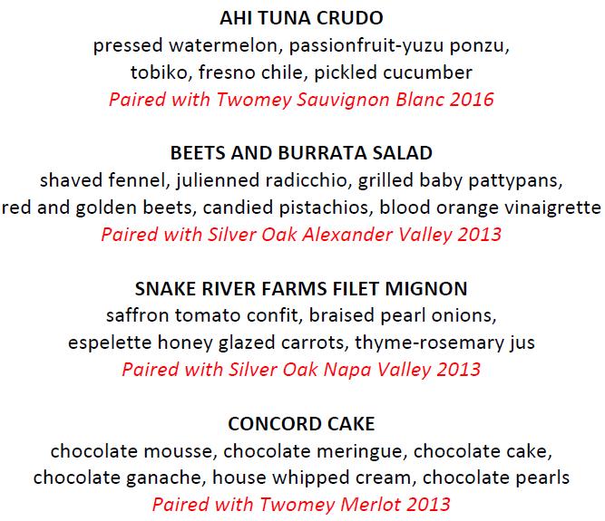 Silver Oak 4-course menu