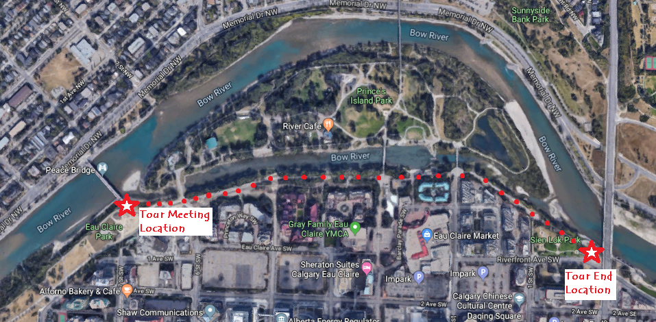 Map of starting location at south end of Peace Bridge