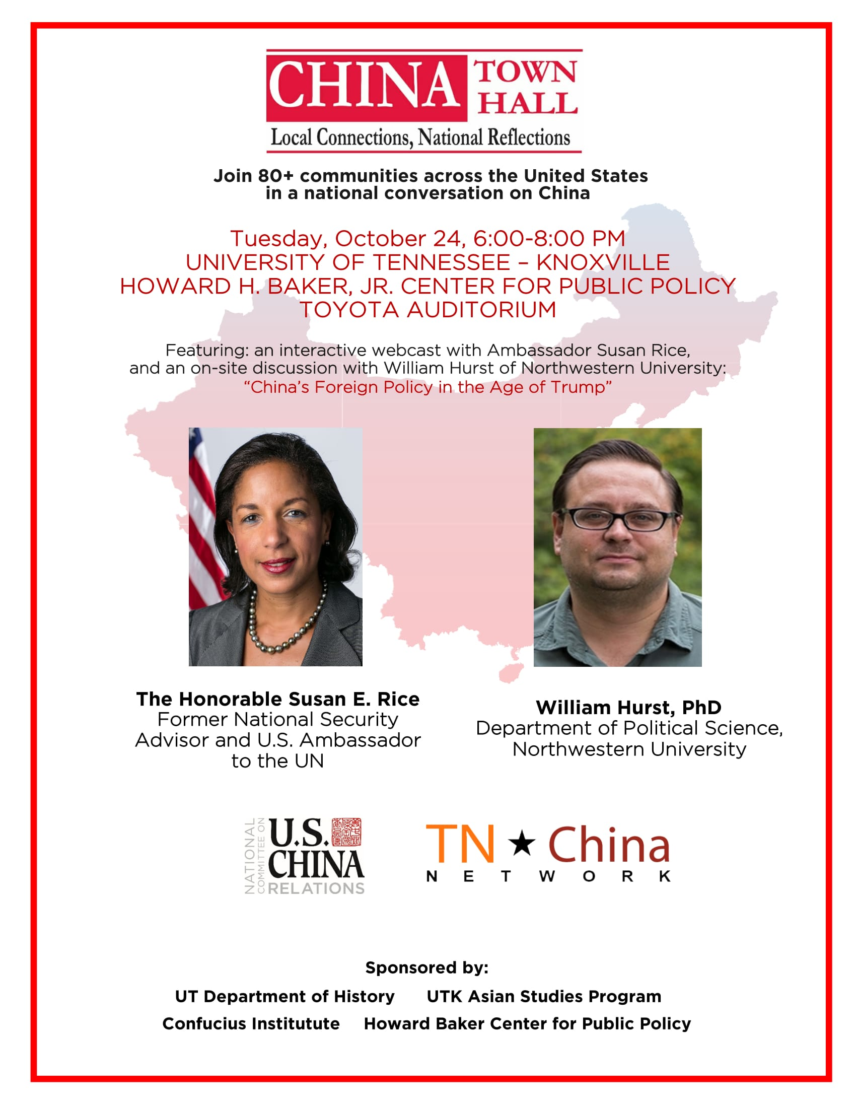 CHINA Town Hall event flier