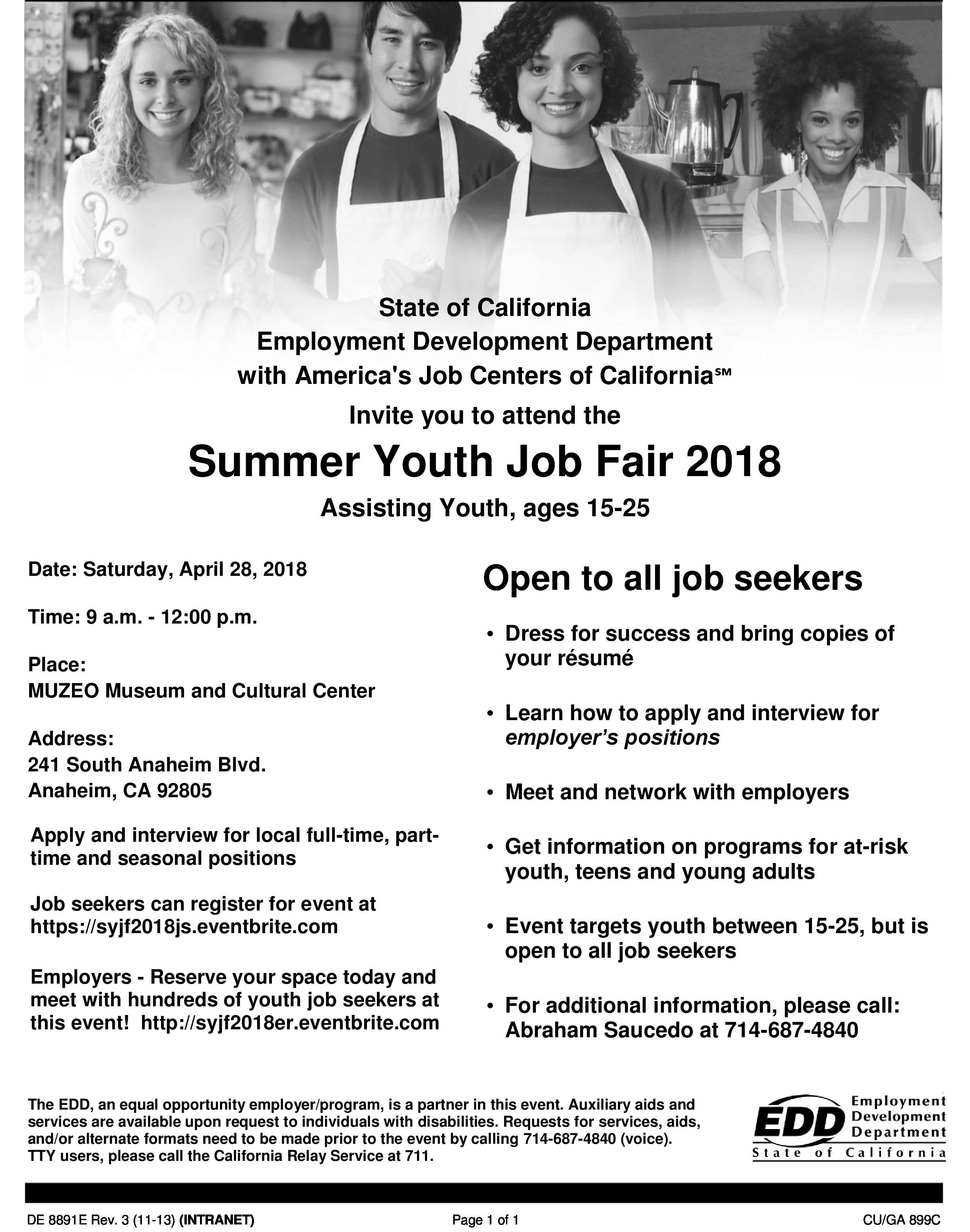 Summer Youth Job Fair 2018 Flyer
